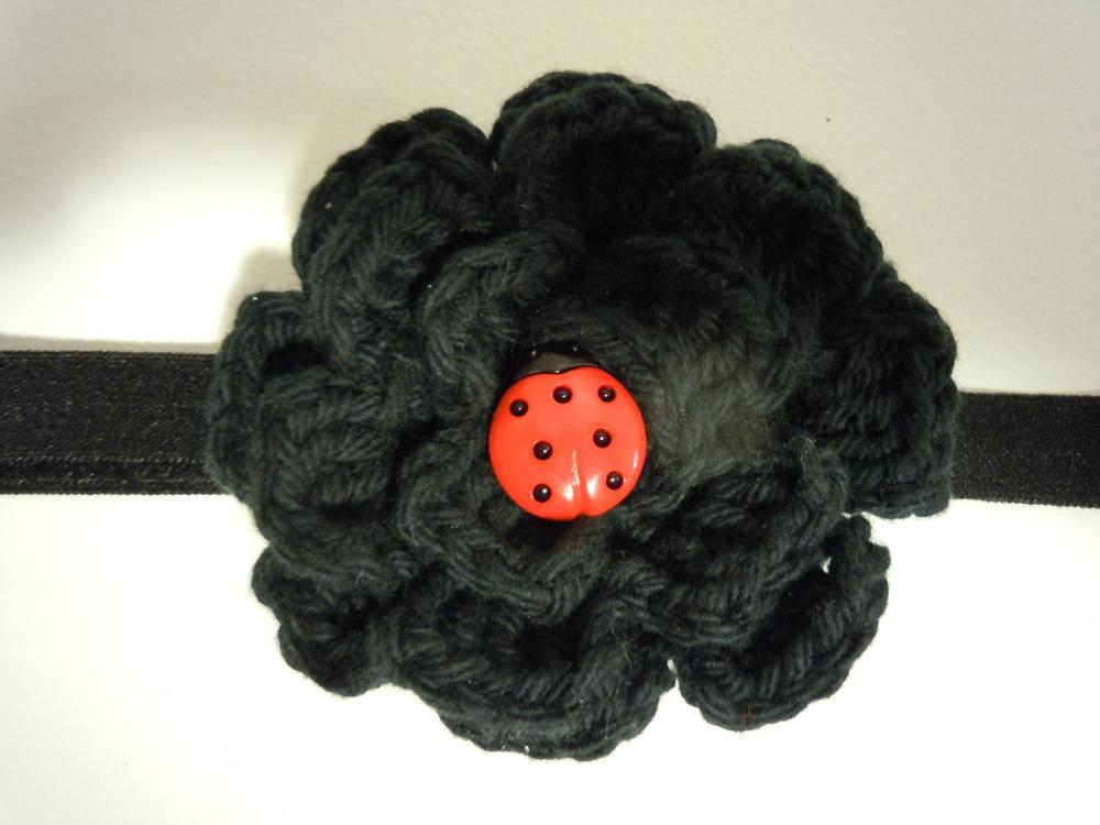 Crochet Flower Headband - Black with Ladybug Button