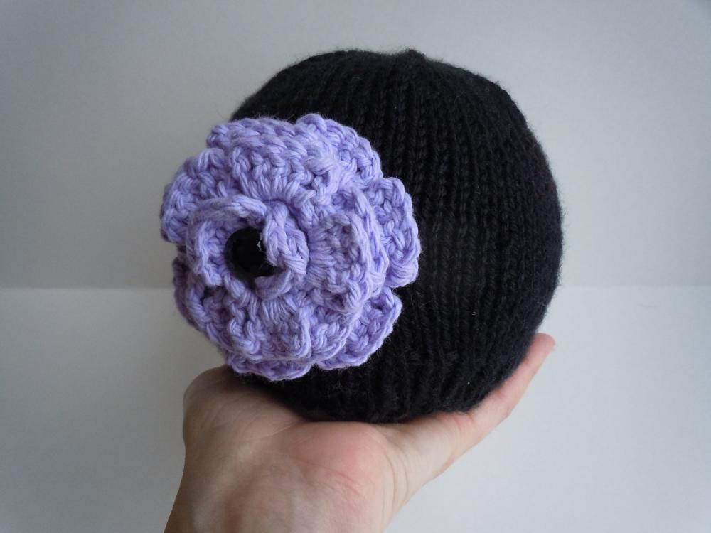 Baby Black Knit Beanie Hat with Purple Crochet Flower