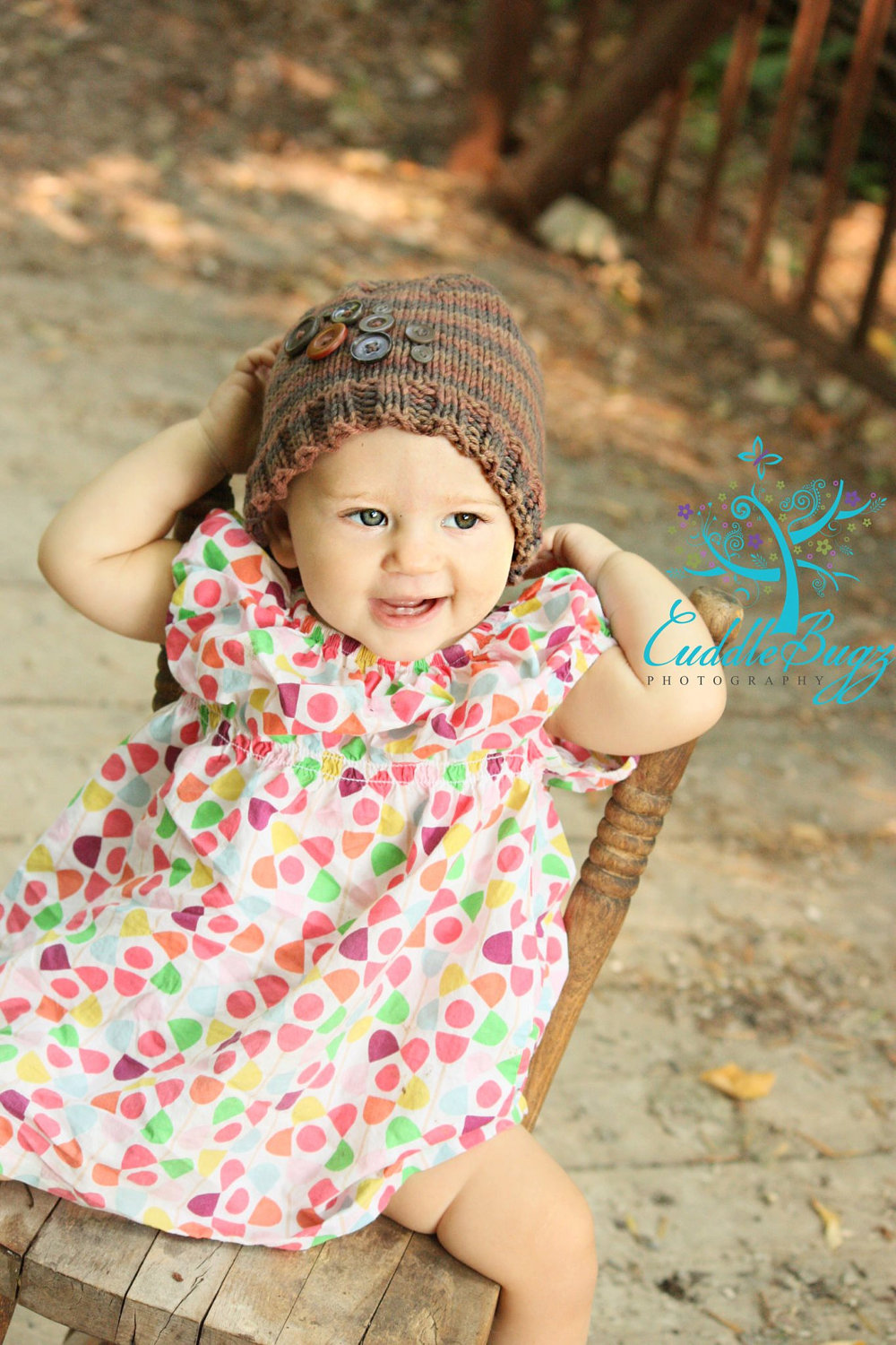 Multi Tone Brown Beanie Hat with Decorative Buttons