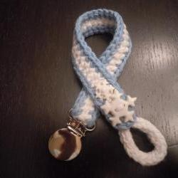 Knit and Crochet Pacifier Holder- Winter/Christmas