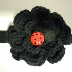 Crochet Flower Headband - Black with Ladybug Button