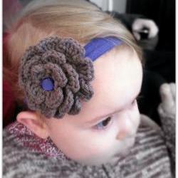 Crochet Flower Headband Taupe and Purple