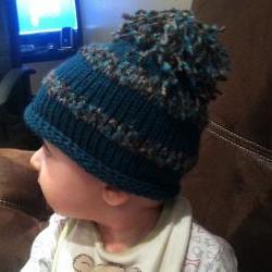 Knit Roll Brim Baby Hat with Pom Pom