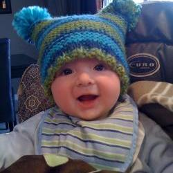 Light Blue, Navy Blue and Lime Green Jester Hat With Pom Poms