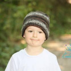 Grey, Brown and Black Knit Beanie Hat
