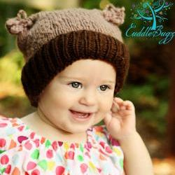Flour Sack Hat 2 Tone Brown, Fold up Rim for Baby